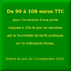 De 90 à 108 euros TTC  pour l'ouverture d'une porte  claquée à Lille le jour en semaine  est la fourchette de tarifs pratiqués  sur la métropole lilloise.    Relevé de prix du 13 septembre 2016