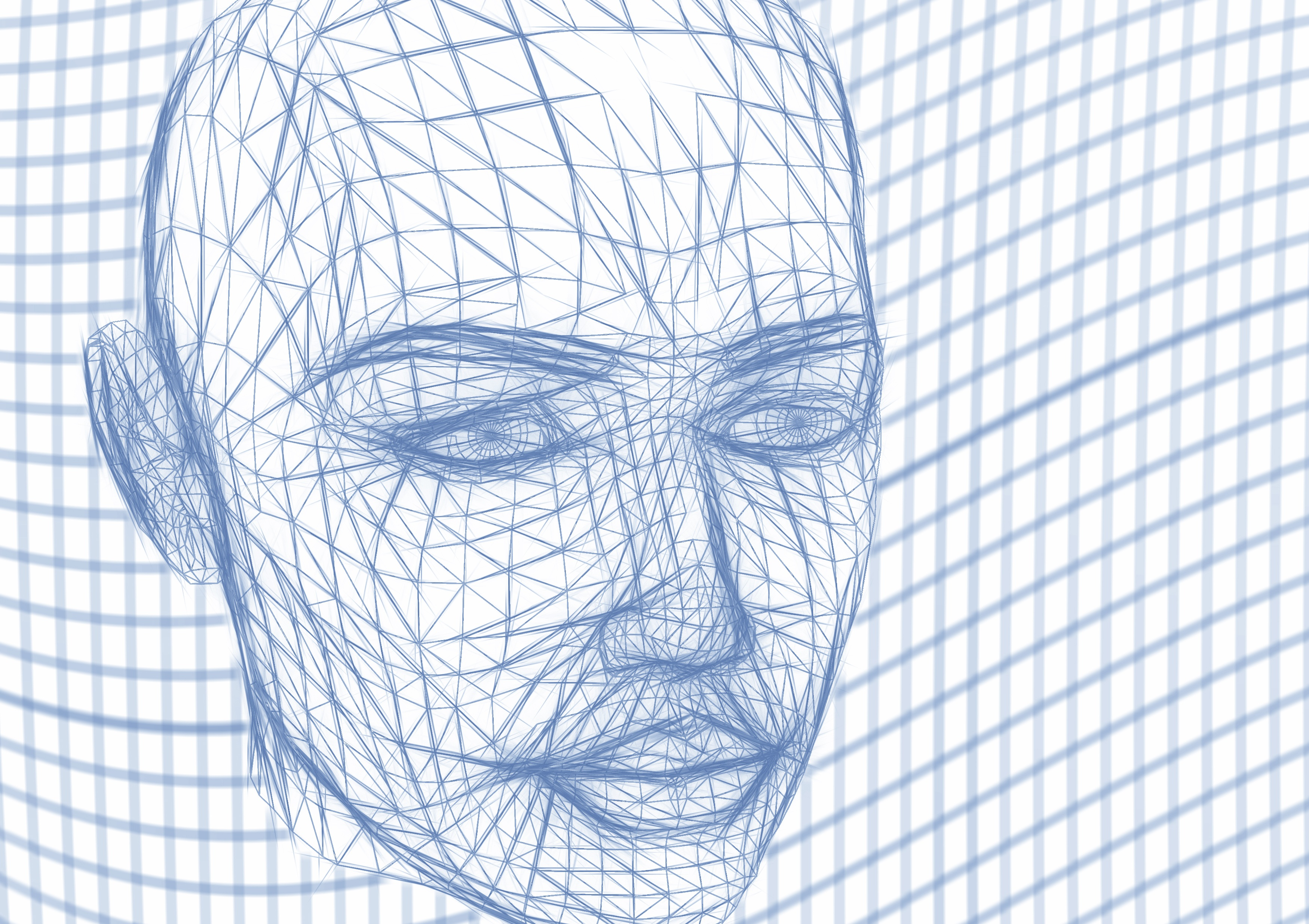 Tête Filaire Face Lignes Vague Réseau Web